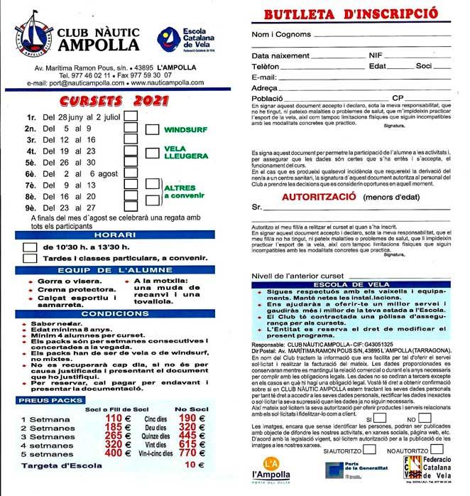 CURSOS DE VELA L'AMPOLLA CLUB NAUTIC